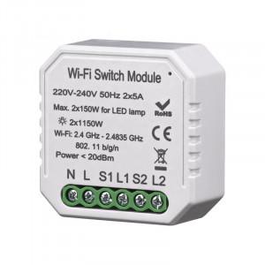 Умный Wi-Fi микромодуль реле двухканальное Ya-S04