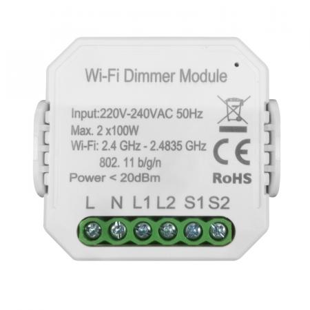 Умный Wi-Fi микромодуль диммер двухканальный Ya-D02-TRIAC