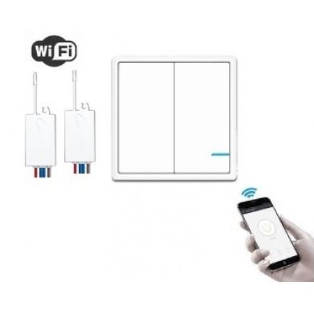 Умный выключатель 2-клавишный и 2 радиореле с WiFi управлением, R2W