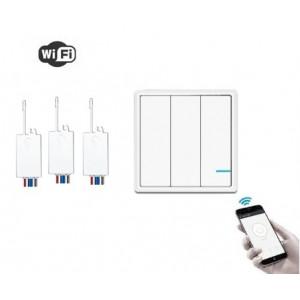 Умный выключатель 3-клавишный и 3 радиореле с WiFi управлением, R3W