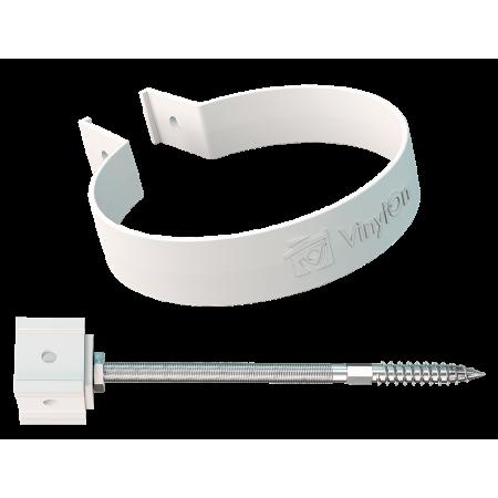 Хомут трубы с крепежом металлическим (160 мм)  ПВХ  VinilOn