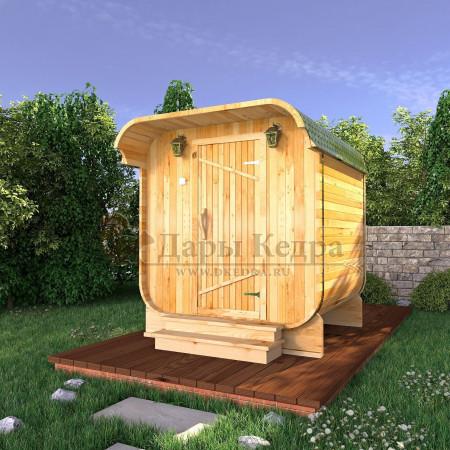 Баня-бочка квадратная (квадро бочка) из кедра 2 метра