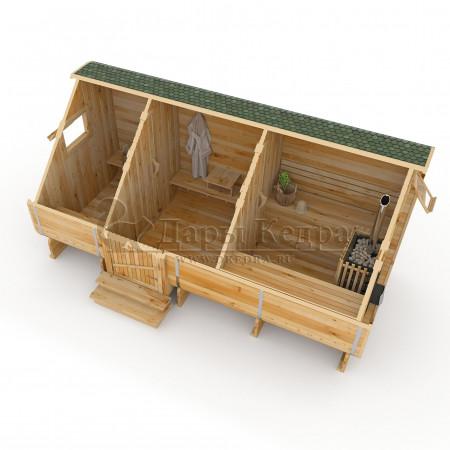Баня-бочка квадратная (квадро бочка) из кедра 6 метров с боковым входом