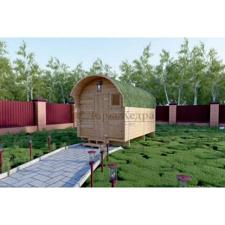 Баня-бочка буханка из кедра 3,5 метра с козырьком
