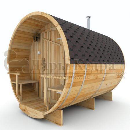 Баня-бочка круглая из кедра 2,5 метра с верандой