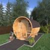 Баня-бочка круглая из кедра 3,5 метра с верандой