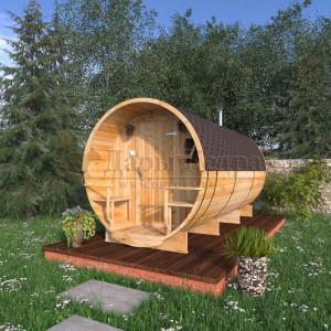 Баня-бочка круглая из кедра 4,5 метра с верандой