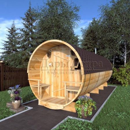 Баня-бочка круглая из кедра 6 метров с верандой